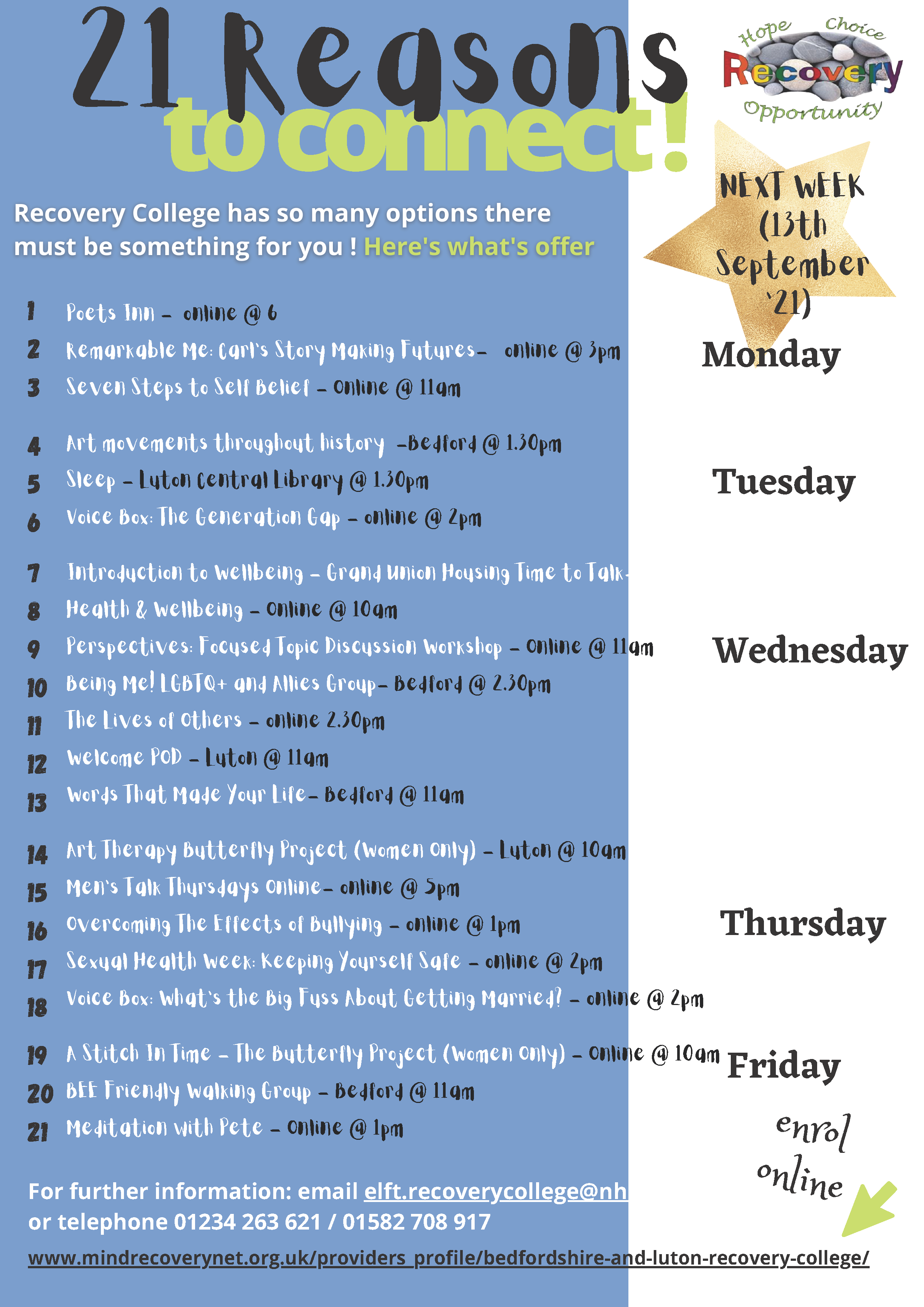 Recovery College events 13-17 Sept